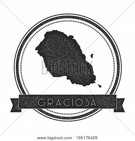 Graciosa Map Stamp. Retro Distressed Insignia. Hipster Round Badge With Text Banner. Island Vector I