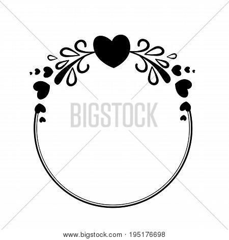Elegant black and white round frame with a silhouette of hearts and decorative elements for the design of brochures booklets wedding albums invitations and other festive products.