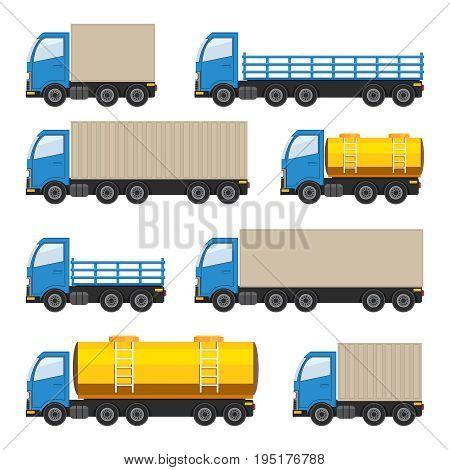 Flat set of trucks. Heavy and fuel trucks. Vector EPS10 illustration.