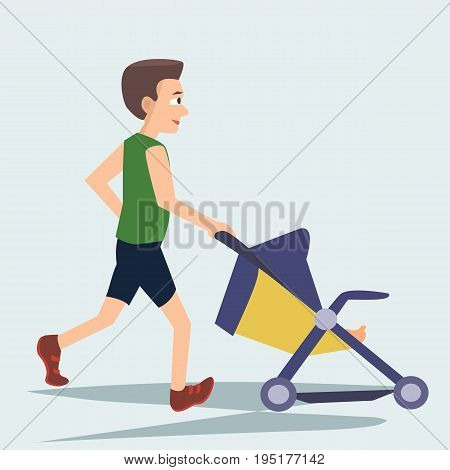 man jogging with baby carriage - funny vector cartoon illustration