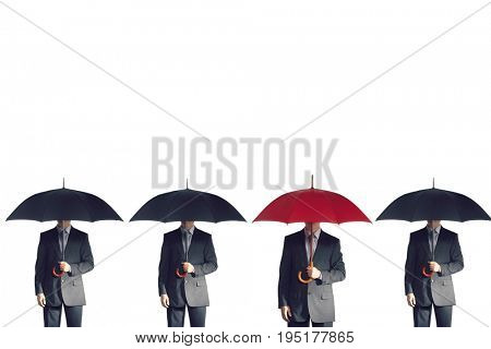 Four businessmen holding umbrellas in a line against white background