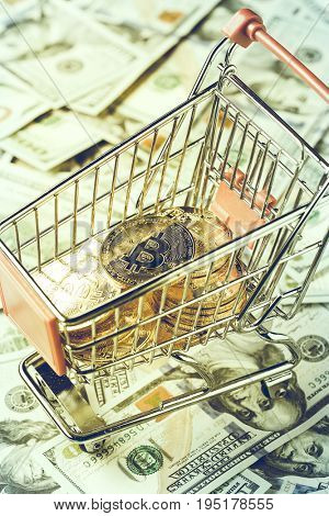 Shopping cart with bitcoins