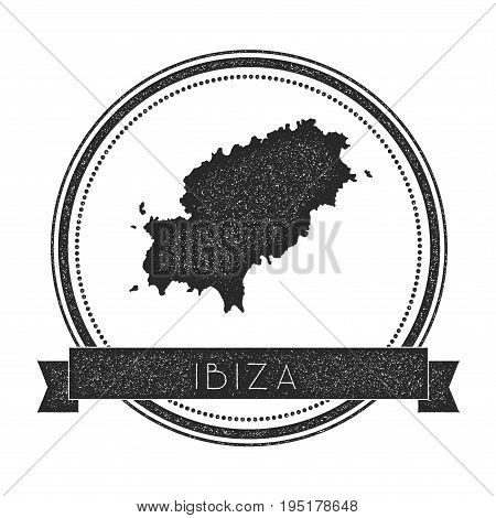 Ibiza Map Stamp. Retro Distressed Insignia. Hipster Round Badge With Text Banner. Island Vector Illu