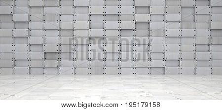 Wide Metal Room With Marble Floor