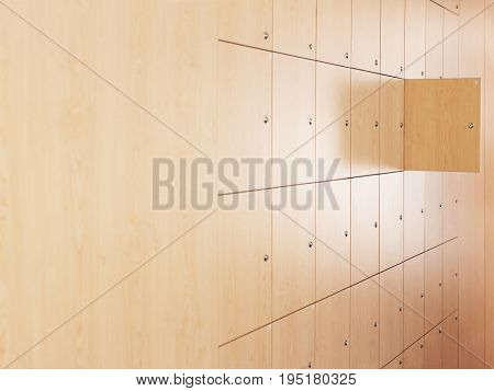 Open door in locker room at office