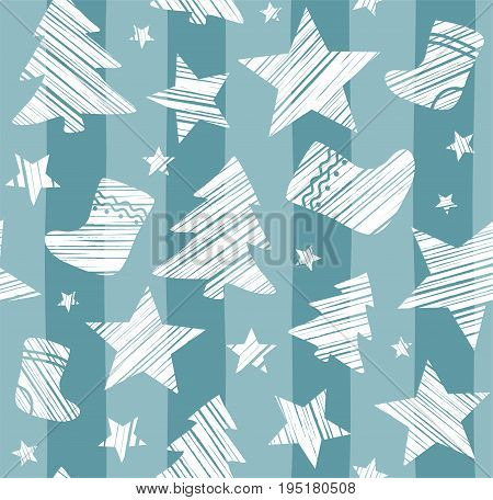 Christmas background, sock, star, tree, seamless, blue-gray, vector. White Christmas trees, socks and stars are drawn with a diagonal bar on a blue-grey striped background.