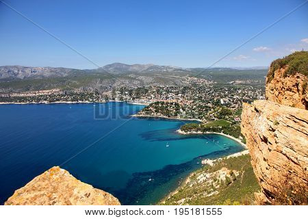 Stunning view of the Cassis bay from Cap Ferrat in Southern France