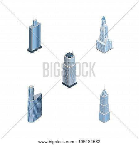 Isometric Skyscraper Set Of Business Center, Building, Exterior And Other Vector Objects. Also Includes Cityscape, Exterior, Center Elements.