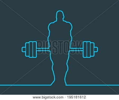 Bodybuilder and barbell outline silhouettes. Icon of the posing athlete