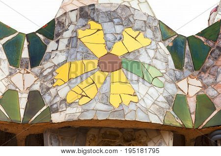 BARCELONA SPAIN - MAY 11 2016: Casa Batllo housetop chimneys with ceramic mosaic. Building redesigned in 1904 by Gaudi located in the center of Barcelona it is on the UNESCO World Heritage Site.