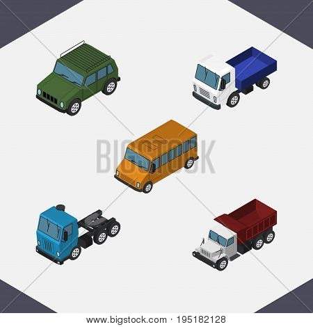 Isometric Transport Set Of Autobus, Freight, Lorry And Other Vector Objects. Also Includes Truck, Transport, Bus Elements.