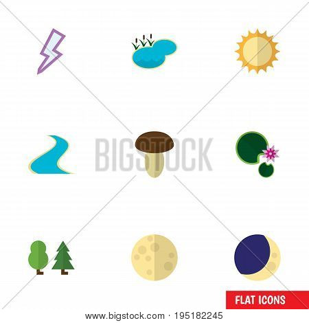 Flat Icon Natural Set Of Tributary, Pond, Lunar And Other Vector Objects. Also Includes Water, Wood, Solar Elements.