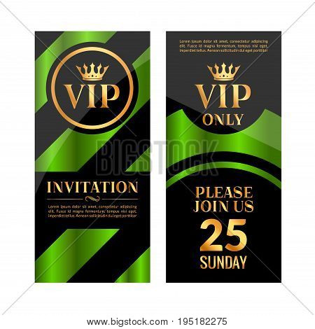VIP party premium green golden invitation card design. Quilted party banner certificate. Vip club with crown decoration. Elegant premium invitation.