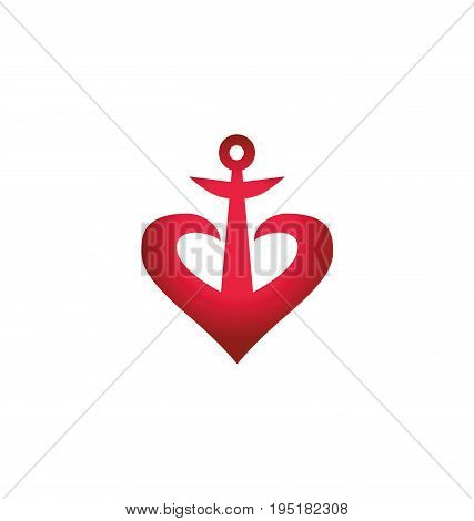 red heart concept anchor icon, vector illustration