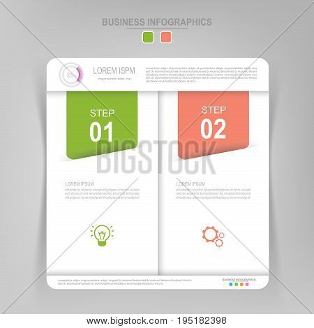 Infographic template of two steps on squares tag banner work sheet flat design of business icon vector