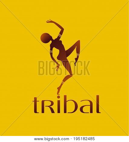 concept african girl dancing silhouette. vector illustration