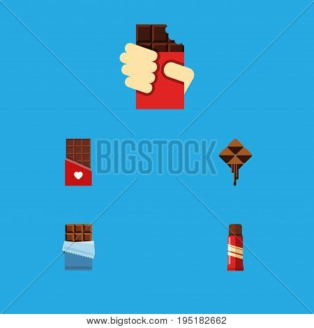 Flat Icon Sweet Set Of Chocolate, Bitter, Sweet And Other Vector Objects. Also Includes Confection, Shaped, Sweet Elements.