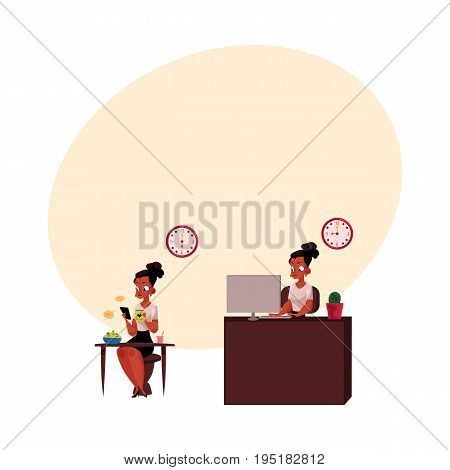 Black, African American businesswoman having breakfast, working on computer in office, cartoon vector illustration with space for text. Black businesswoman, working day, home and office