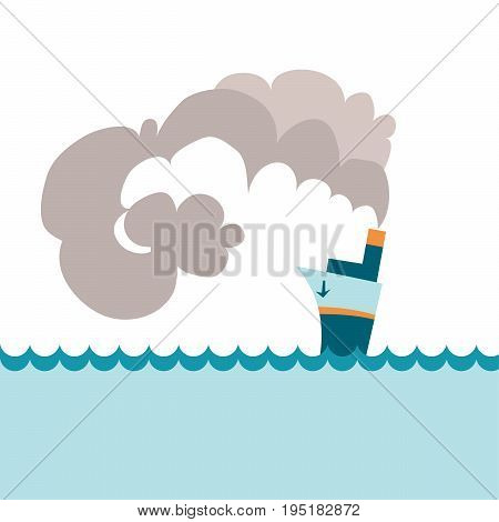 abstract simple style blue steamship vector illustration