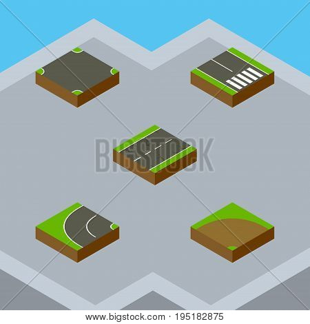 Isometric Way Set Of Crossroad, Way, Pedestrian And Other Vector Objects. Also Includes Earthquake, Bitumen, Crossroad Elements.