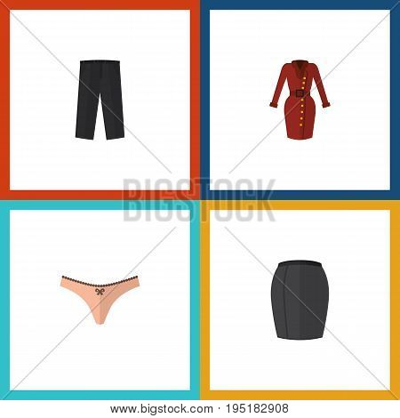 Flat Icon Dress Set Of Pants, Stylish Apparel, Clothes And Other Vector Objects. Also Includes Panties, Woman, Underwear Elements.