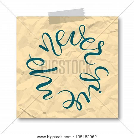 never give up sheet papper sticker round quotes