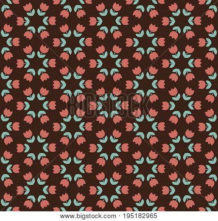 light color tulip seamless vector pattern on dark background