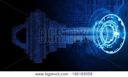 A cybersecurity concept image with a key made out of binary code going into an abstract lock
