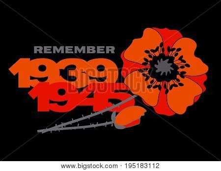 second world war concept postcard with red flower and years numbers