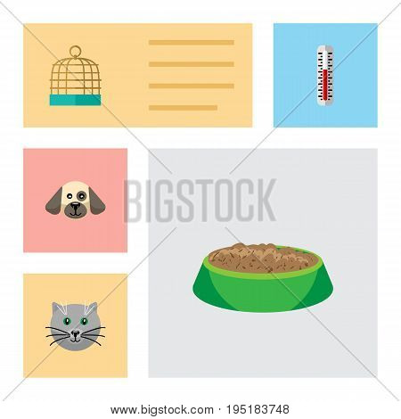 Flat Icon Pets Set Of Puppy, Bird Prison, Temperature Measurement And Other Vector Objects. Also Includes Pussy, Temperature, Hare Elements.