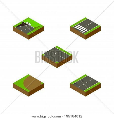 Isometric Road Set Of Turning, Footpassenger, Cracks And Other Vector Objects. Also Includes Footpassenger, Underground, Subway Elements.