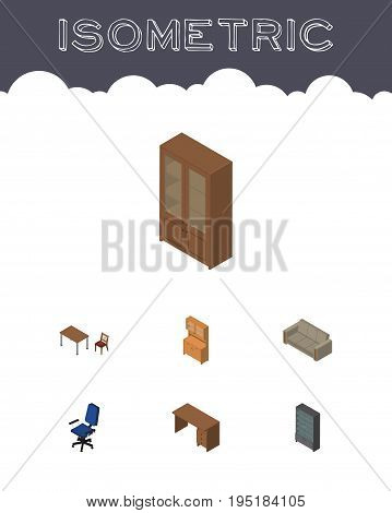 Isometric Furniture Set Of Table, Sideboard, Office And Other Vector Objects. Also Includes Settee, Closet, Locker Elements.