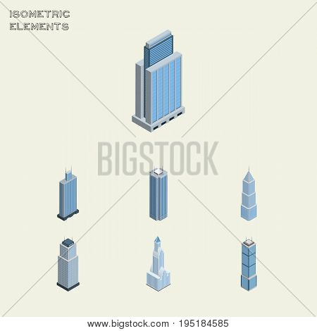 Isometric Skyscraper Set Of Exterior, Tower, Business Center And Other Vector Objects. Also Includes Exterior, Skyscraper, Urban Elements.