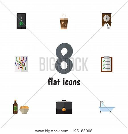 Flat Icon Lifestyle Set Of Clock, Beer With Chips, Briefcase And Other Vector Objects. Also Includes Form, Map, Cappuccino Elements.