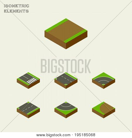 Isometric Road Set Of Downward, Pedestrian, Footpath And Other Vector Objects. Also Includes Rotation, Bitumen, Asphalt Elements.
