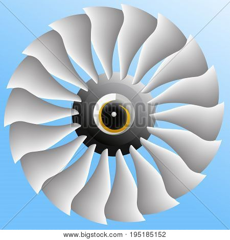 Vector image of the fan of modern aircraft engine.