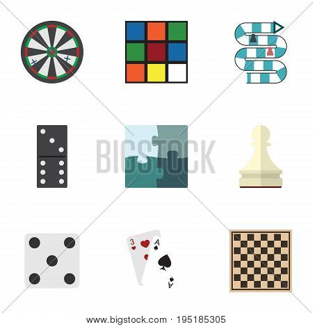 Flat Icon Play Set Of Cube, Ace, Chess Table And Other Vector Objects. Also Includes Arrow, Jigsaw, Pawn Elements.