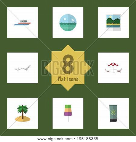 Flat Icon Beach Set Of Sundae, Recliner, Moisturizer And Other Vector Objects. Also Includes Palm, Ocean, Pictures Elements.