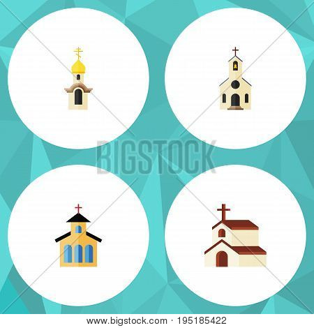 Flat Icon Church Set Of Religion, Structure, Catholic And Other Vector Objects. Also Includes Structure, Christian, Traditional Elements.
