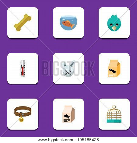 Flat Icon Pets Set Of Fishbowl, Sparrow, Nutrition Box And Other Vector Objects. Also Includes Bird, Cage, Fishbowl Elements.