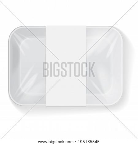 White Rectangle Blank Styrofoam Plastic Food Tray Container Wiith Label. Vector Mock Up Template for your design