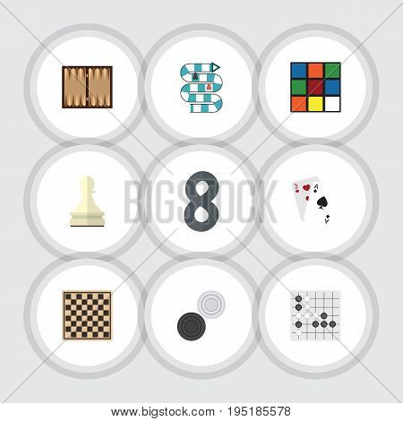 Flat Icon Entertainment Set Of Multiplayer, Cube, Dice And Other Vector Objects. Also Includes Renju, Checkerboard, Alphago Elements.