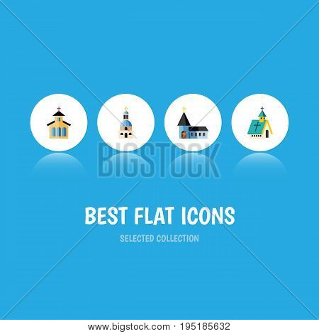 Flat Icon Church Set Of Christian, Church, Catholic And Other Vector Objects. Also Includes Structure, Christian, Architecture Elements.