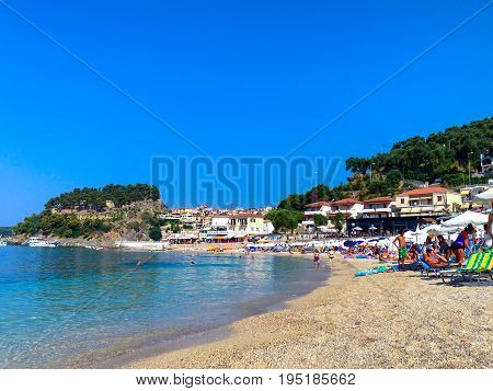 Parga, Greece - July 18, 2013: Panoramic view of Parga greek sea resort town and beach at Ionian sea, Greece