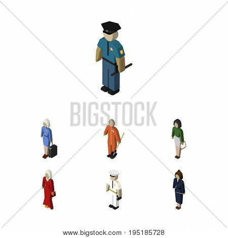 Isometric People Set Of Seaman, Hostess, Cleaner And Other Vector Objects. Also Includes Policeman, Female, Laborer Elements.