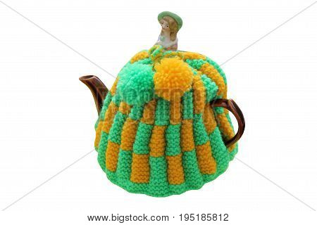 A Knitted Wool Cover Cosy for a Teapot.