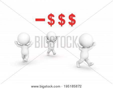 3D Characters panicking because of bankruptcy or financial crisis. Isolated on white.