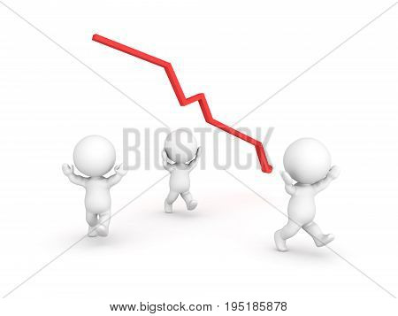3D illustration depicting people panicking after a financial crash. Isolated on white.