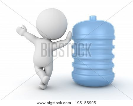 3D Character leaning on plastic water jug. Isolated on white.
