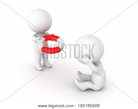 3D illustration depicting the concept of of offering help or support. Isolated on white.
